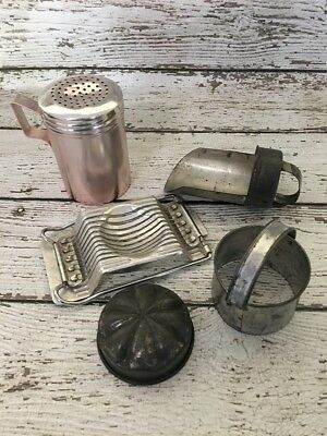 VINTAGE Kitchenalia Lot - Anodised Shaker, Nutbrown Slicer, Scoop, Cutter & Moul