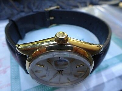 Vintage ROLEX Oyster Perpetual Date14k Solid Gold Ref 1503 Watch w/Service Paper