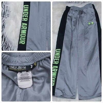 Under Armour Boys Size YMD Medium Gray & Green UA Spell Out Sweat Pants