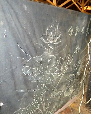 Large Glass Panel etched with Water Lilies/fish Restaurant Decorative Divider