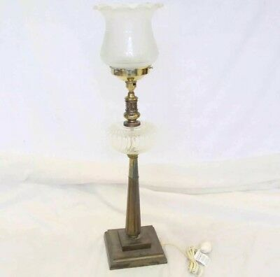 Antique Vintage Floor Lamp with Glass Lamp Shade