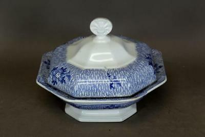 A Nice 19Th C Staffordshire Soft Paste Covered Vegetable In Blue Ruins Pattern