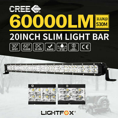 "20inch CREE LED Light Bar Spot Flood Dual Row Offroad 4WD Reverse Slim 20""23"""