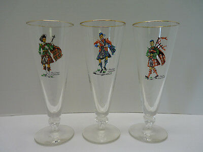 Mid-Century Modern Vintage Pilsner Highball Beer Glasses-Scottish, Bagpipes,Kilt