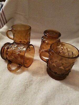 4 Vintage Anchor Hocking Kimberly Amber Diamond Brown Coffee Mugs Oven Proof