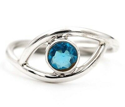 Flawless Blue Topaz 925 Solid Sterling Silver Ring Jewelry Sz 7