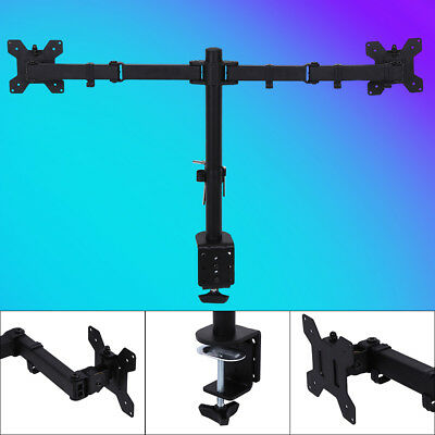 """AU Dual LCD Monitor Computer Desk Mount Stand Adjustable Screen 13""""-27"""" 2 Arms"""