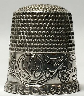Waite Thresher Co. Sweeping Floral Design Sterling Thimble - Feathered Rim