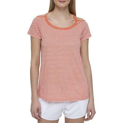 Tommy Hilfiger Womens Orange Striped Hi-Low Pullover Top Athletic M BHFO 1239