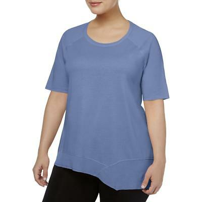 Calvin Klein Performance Womens Blue Short Sleeves T-Shirt Plus 1X/2X BHFO 1520