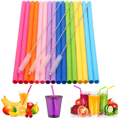 6PCS Colorful Straws Reusable Silicone Drinking Straw with Cleaning Brushes Set