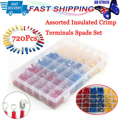 New Electrical Wire Connector 720pcs Assorted Insulated Crimp Terminals Spade