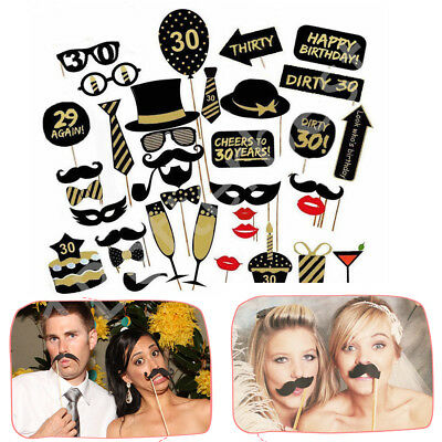 16/18/21st/30/40/50/60th 36pc Birthday Party Photo Booth Props Party Favor Decor