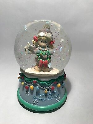 Precious Moments Holiday Water Globe Musical- Plays 'Deck the Halls'