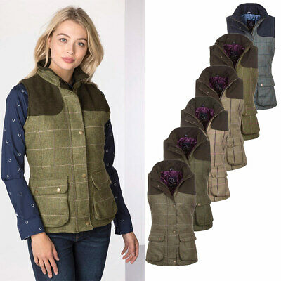 Ladies Bramham II Tweed Waistcoat Bodywarmer Gilet Country British Made - Rydale
