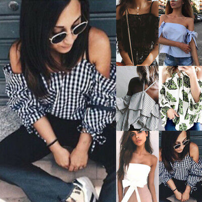 Women Off Shoulder Strappy Ladies Casual Beach Loose Summer Tops T-Shirt Blouse