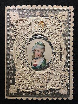 Victorian   Sweet-Heart Card  With Lace Details // Die-Cut Rare Card!!  Rare!