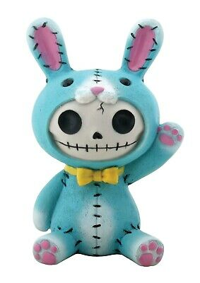 FurryBones Bun-Bun Large Figurine Blue Rabbit Bunny Ornament Gothic Cool Skull