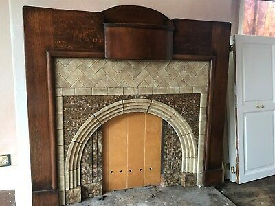 Beautiful wood and tiled 1930 mantelpiece and hearth