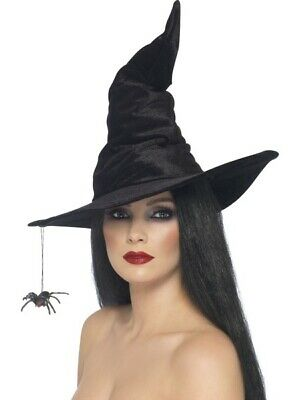 Black Velour Witch Hat with Dangling Spider Pk 1