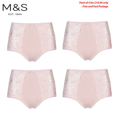 M/&S Lingerie PACK of 4 GREY FLORAL Pink Lace Boxers Shorts Trunks Knickers 8-24