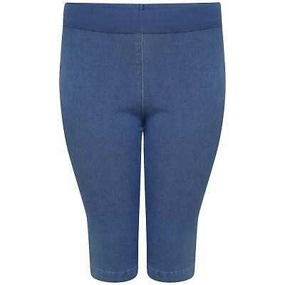 Womens Ex M&S Cropped Jeggings Plus Size Denim Capri Stretchy Pull On Jean
