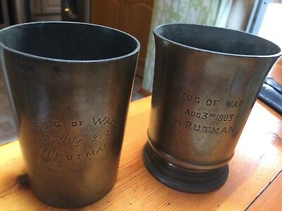 2x antique pewter tankards, engraved 1902 & 1903