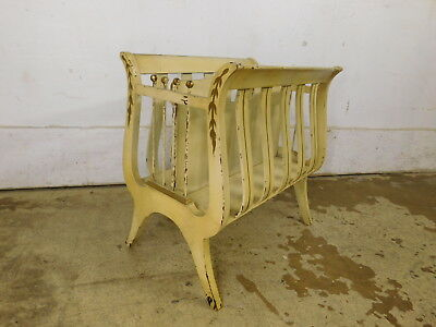 Vintage Chic Antique Lyre Paint Decorated Magazine Rack Record Cabinet