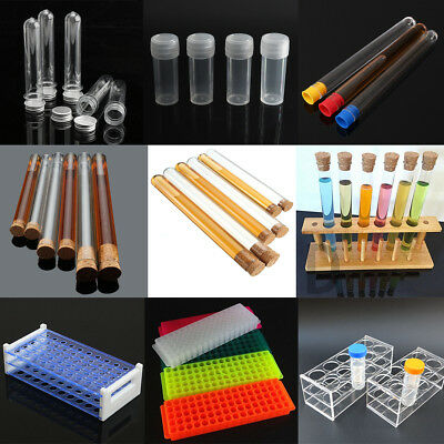 All Size Plastic / Glass Test Tubes With Push Cap - Test Tube Rack Holder 5-40ml
