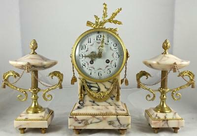 Antique 19thc French Marti Gilt Bronze & Beautiful Marble 8 Day Mantel Clock Set