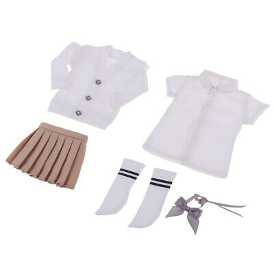 Set Of Uniform For 1/6 BJD Dolls - T-shirt, Skirt And Coat With Accessory