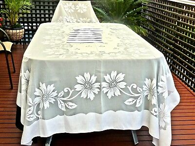 Magnificent Vintage Off  White Organy Banquet Tablecloth & 8 Napkins