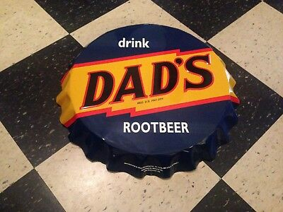 Vintage Style Dad's Root Beer Soda Bottle Cap Metal Sign