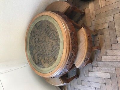 Antique chinese solid wood table with glass top