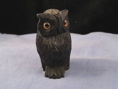 Wooden Treen Victorian Antique Figural Owl Bird Match Trinket Needle Pin Box