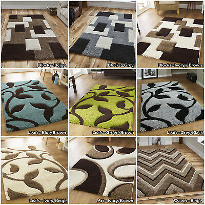 MODERN HIGH 3cm THICK QUALITY NEW SMALL LARGE MULTI FASHION GEOMETRIC SHAGGY RUG