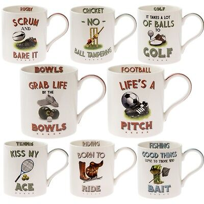 Sporty Boxed Fine China Mugs Tennis Football Rugby Fishing Golf Riding Bowling