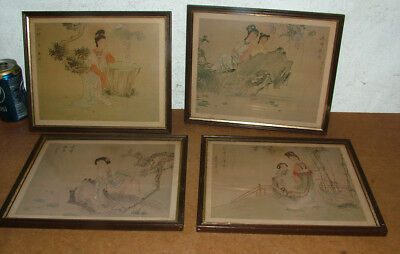4X Antique Chinese Prints Of Paintings