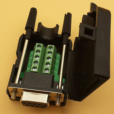 DB9 female 9Pin D-Sub Connector solderless Terminal Board Plastic Cover P