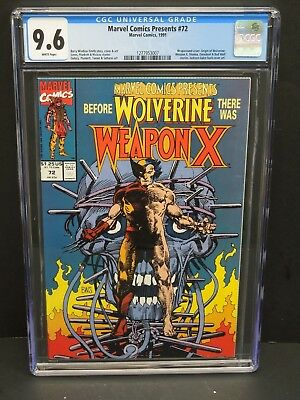 MARVEL COMICS PRESENTS #72 1991 CGC 9.6 WHITE PAGES 1st WEAPON X WOLVERINE