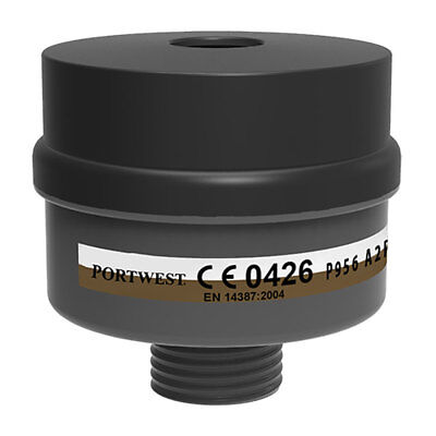 Portwest - A2P3 Combo Filter Universal Thread (Pack of 4) - Black