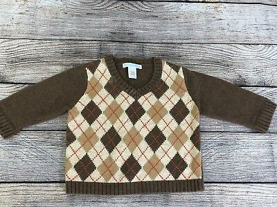 Janie & Jack 6-12 months Boys Wool Sweater English Countryside Brown Argyle Fall