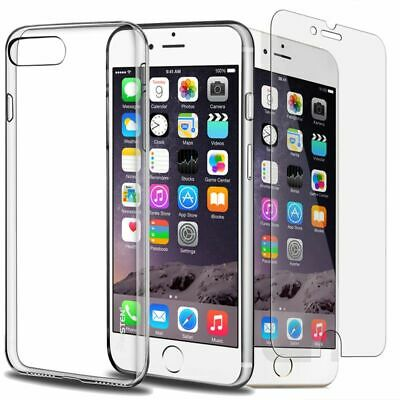 iPhone 6 6S 7 8 Plus Case Silicone Clear Transparent Slim Gel TPU Rubber Cover