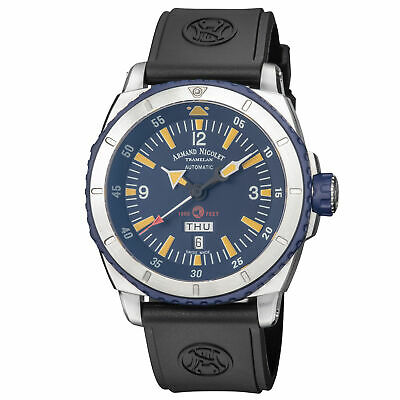 Armand Nicolet A713MGU-BU-G9610 S05 Men's Automatic 47mm Blue Dial Blue Rubber