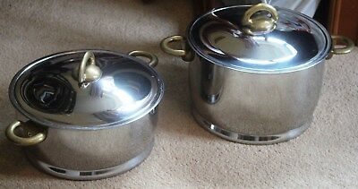 Kuhn Rikon 2 x Stainless Steel Duotherm Cook Pots with brass handles