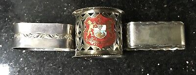 3 Old Vintage Silver Plate Napkin Rings Including Pieced Belfast Crested Enamel