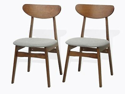 Modern Set of 2 Yumiko Dining Kitchen Side Chairs Solid Wood Medium Brown