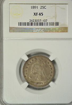 1891 Seated quarter, NGC XF45