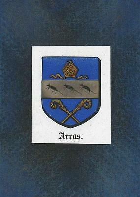 Antique Arras France Heraldry Crest Print On Aceo New Black Paper Coat Of Arms