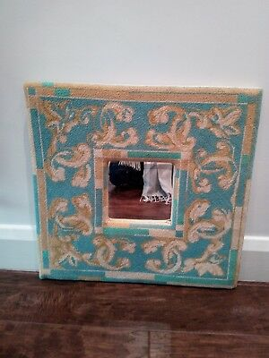 unusual handmade blue cream and gold framed square 18 inch mirror
